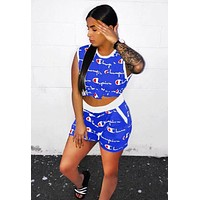 Champion Summer New Fashion More Letter Print Sports Leisure Top And Shorts Two Piece Suit Blue