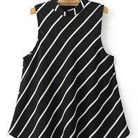 Casual Black Stripe High Neck Chiffon Vest