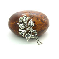 Coro Sterling Craft Brooch Large Silver Bell Flower Bouquet Nordic Style Turned Leaf & Berry Cluster Vintage 1940s WWII Fashion Jewelry