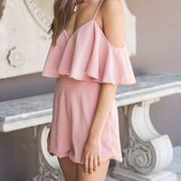 Pink Off The Shoulder Ruffle Romper