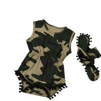 2PC Baby Girl Army Fatigue Sleeveless Camouflage Bodysuit with Matching Headband