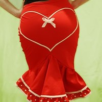 Pin-Up style Red fishtail skirt with polka dot frill and heart on the rear!