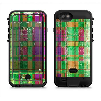 The Purple and Green Plad with Floral Pattern  iPhone 6/6s Plus LifeProof Fre POWER Case Skin Kit