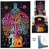 Your Spirit Space (TM) Rainbow Good Luck Elephant Tapestry - The Finest Quality Bohemian Wall Decor