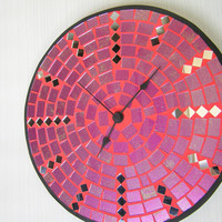 Purple fuchsia pink wall clock large mosaic home decor with mirror pieces modern design