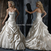 Custom Made Champagne Lace Beading Taffeta Bride Dresses Long Vestidos Novia Wedding Gowns 2014 Discount Sale