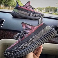Hipgirls ADIDAS Yeezy Boost 350 V2 new couple luminous casual sneakers Black
