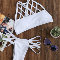 White Criss Cross Design Ladder Cut Out Bikini Set