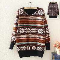 Fawn Snowflake Pullover Sweater 1BADBJ