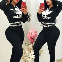 Adidas Popular Women Casual Print Long Sleeve Top Pants Set Two-Piece Sportswear