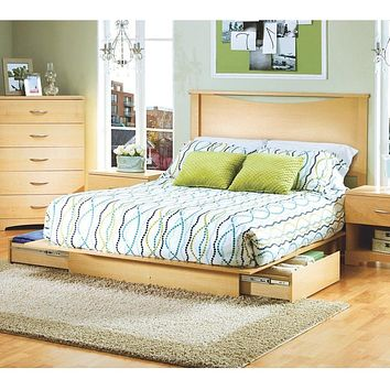 Full / Queen Platform Bed with Storage Drawers and Headboard in Natural