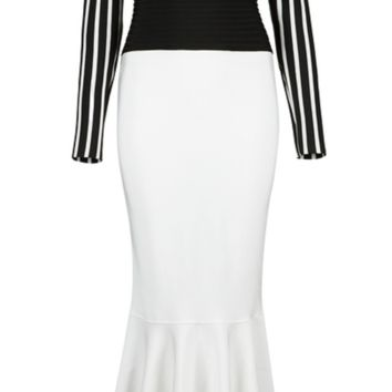'Carrina' Fluted Maxi Dress - Black and White