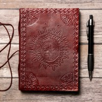 Zodiac Sun Handmade Leather Journal
