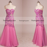 Luxury Floral Jewels Beading Strapless Mermaid Tulle Floor-length Party Dress,Ball Gown,cocktail dresses,evening dresses,senior prom dress