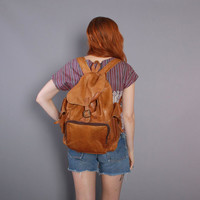 90s Brown LEATHER BACKPACK / 1990s Oversized BAG with Tons of Pockets