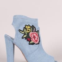 Delicious Denim Floral Patch Peep Toe Chunky Heeled Booties