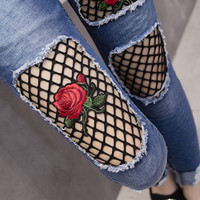 Fashion Rose Embroidery Ripped Tight High Waist Pants Trousers Jeans