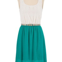 Belted Lace Top Gauze Skirt High-Low Dress - Everglade Combo