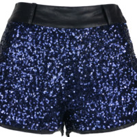 Blue Lights Sequin Shorts