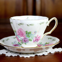Vintage  Royal Vale Vintage Teacup - Tea Cup and Saucer - Beautiful Pink Roses on White 12154