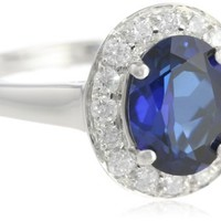 14k White Gold Oval Created Blue Sapphire and Diamond Halo Ring (1/4 cttw, H-I Color, I1-I2 Clarity), Size 7
