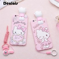 Phone Case For iPhone 6 6S 6 plus 3D Cute Hello Kitty Soft Silicon Fundas Case For iPhone X 8 7 7 plus Cover Kitty Cartoon Coque