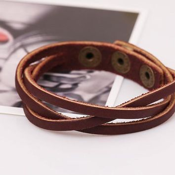 Multilayer Loose Weave Leather Snap Button Bracelet