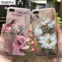WalkPro Phone cases for apple iphone 6 6s 7 Plus case cover with flowers 3D Relief Flower Silicone TPU soft painting capa coque