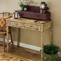 Rustic desk side table with storage