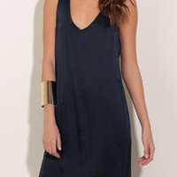 Navy Scoop Neck Backless Dress
