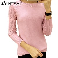 6 Colors Sweaters Women  Winter O-neck Long Sleeve  Pullovers Knitted Sweater Female Warm Tops