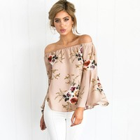 Off shoulder chiffon blouse shirt women Sexy white print blouse Casual flare sleeve cool blouse