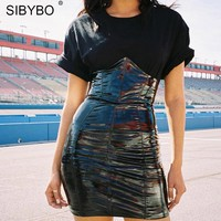 Sibybo High Waist PU Leather Sexy Skirts Womens Fashion Zipper Sheath Summer Mini Women Skirt 2018 Black Short Ladies Skirts