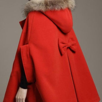 Apricot\Brown\Navy\Red S\M\L Womens Hooded Poncho Cape Coat Winter Warm Faux Fur Shawl Faux Wool Jacket Cloak = 1932479748