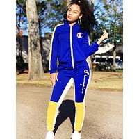 Champion Fashion New Letter Long Sleeve Top And Pants Sports Leisure Two Piece Suit Blue