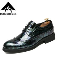 DJSUNNYMIX Brand Patent leather men's business pointed toe shoes Men Oxfords Lace-Up Men Wedding Shoes Dress shoe