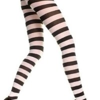 Black & White Wide Stripe Gothic Tights by Music Legs