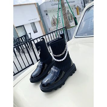 Givenchy2021 Trending Women's men Leather Side Zip Lace-up Ankle Boots Shoes High Boots09100gh