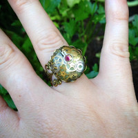 Pink Crystal Steampunk Watch Part Adjustable Antique Gold Intricate Ring