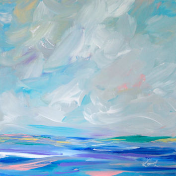 Acrylic on Canvas Seascape Painting Contemporary Coastal Art Beach Painting 12x12