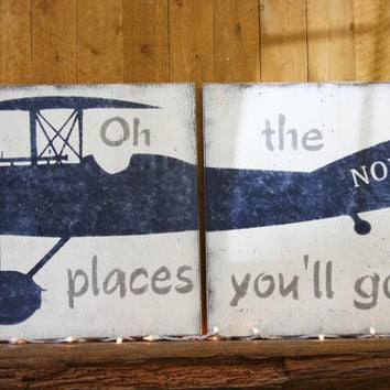 Vintage Airplane Wood Signs Boys Nursery Wall Decor Oh The Places You'll Go Gray And Navy Nursery Personalized Over Crib Nursery Handpainted