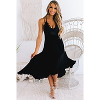 Girl On The Coast Boho Crochet Lace Dress (Black)