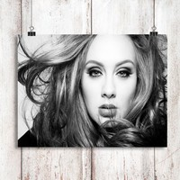 Adele Black and White Poster Print Wall Decor Canvas Print - piegabags.com