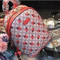 Gucci Women Leather Fashion Bird Lady Beetle Pattern Shoulder Bag Daypack Backpack I-WXZ2H