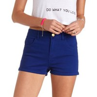 "Refuge ""Hi-Rise Shortie"" High-Waisted Shorts - Cobalt"