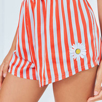 Out From Under Embroidered Satin Boxer Short   Urban Outfitters
