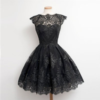 Womens Sexy Dresses Party Night Club Dress Short Sleeve Ball Gown Knee-Length Black And White Lace Dress Womens Clothing