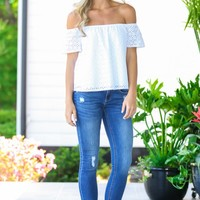 Everly This Moment White Off-The-Shoulder Top