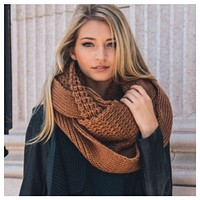 """""""I'm Never Cold"""" XL Thick Chunky Knit Camel Brown Infinity Scarf"""