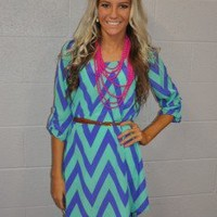 Bright Mint and Purple Belted Dress